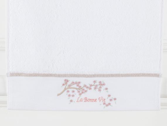 La Bonne Nakışlı El Havlusu - Beyaz / Taş