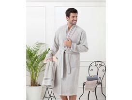 Erkek Kimono Bornoz Seti - Taş