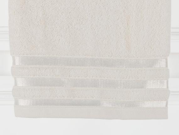 Floşlu Havlu - Ekru - 70x140 cm