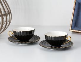 Shelley 2'li Çay Fincanı Seti - Siyah