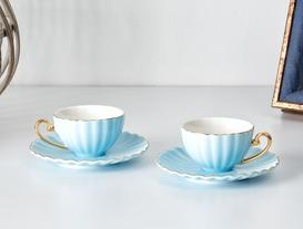 Shelley 2'li Kahve Fincanı Seti - Mavi