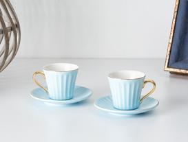 Novel 2'li Kahve Fincanı Seti - Mavi