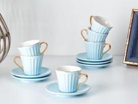 Novel 6'lı Kahve Fincanı Seti - Mavi