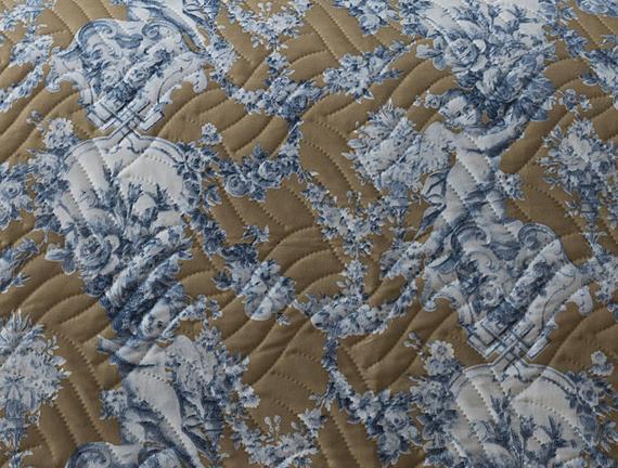 Quentovic Çift Kişilik Yatak Örtüsü - Toprak / Mavi