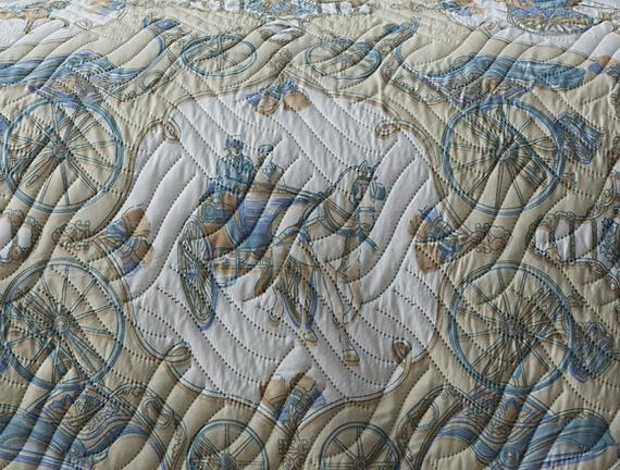 La Calèche Çok Amaçlı King Size Yatak Örtüsü - Taş / Mavi