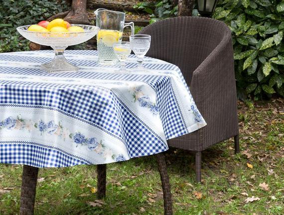 Camile Silinebilir Masa Örtüsü - Mavi - 140 cm