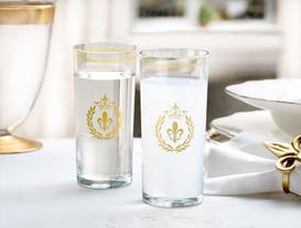 Fleur De Lys 6-Piece Beverage Glass Set - Gold
