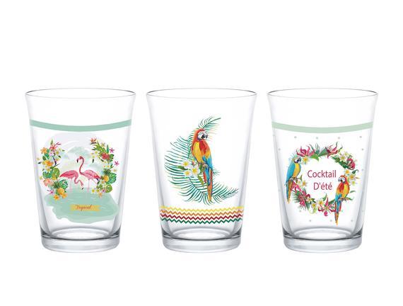 Tropikal 3-Lü Su Bardağı Seti