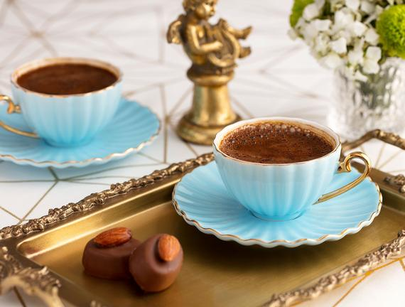 Shelley 6'lı Kahve Fincanı Seti - Mavi