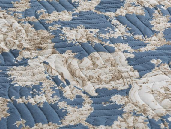 Çok Amaçlı Desenli Tek Kişilik Yatak Örtüsü - Lacivert / Toprak