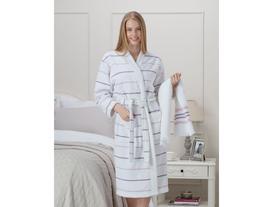 Violette Kadın Kimono Bornoz Seti - Beyaz / Pudra / Mor (L-XL)