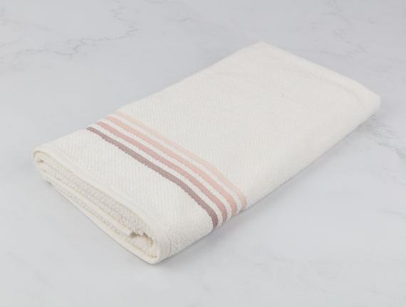 Ruban Armürlü Banyo Havlusu - Ekru / Pudra - 70x140 cm