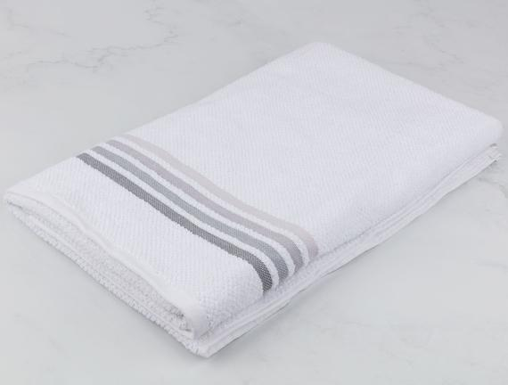 Ruban Armürlü Büyük Banyo Havlusu - Beyaz / Gri - 90x150 cm