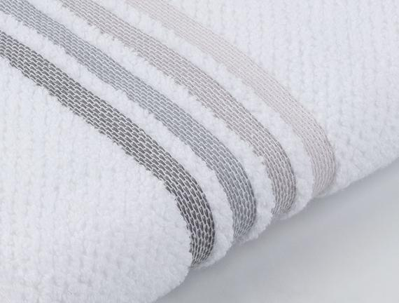 Ruban Armürlü Banyo Havlusu - Beyaz / Gri - 70x140 cm