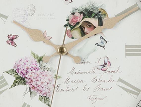 Carte Postale Duvar Saati - Beyaz
