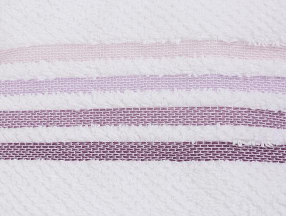 Ruban Armürlü El Yüz Havlusu - Beyaz / Mürdüm - 50x80 cm