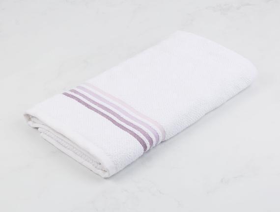 Ruban Armürlü Banyo Havlusu - Beyaz / Mürdüm - 70x140 cm