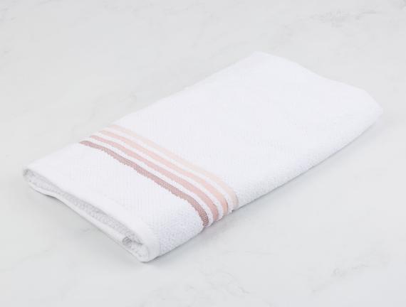 Ruban Armürlü Banyo Havlusu - Beyaz / Pudra - 70x140 cm