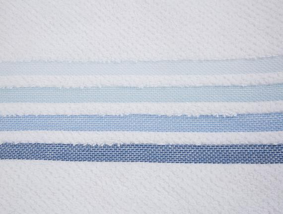 Ruban Armürlü Büyük Banyo Havlusu - Beyaz / Mavi - 90x150 cm