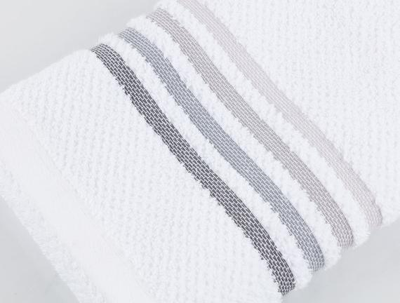 Ruban Armürlü El Yüz Havlusu - Beyaz / Gri - 50x80 cm