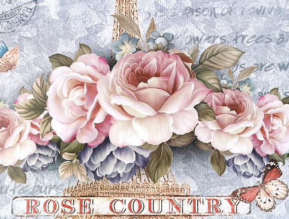 Rose Country Tepsi - Gri - 42,5x32 cm