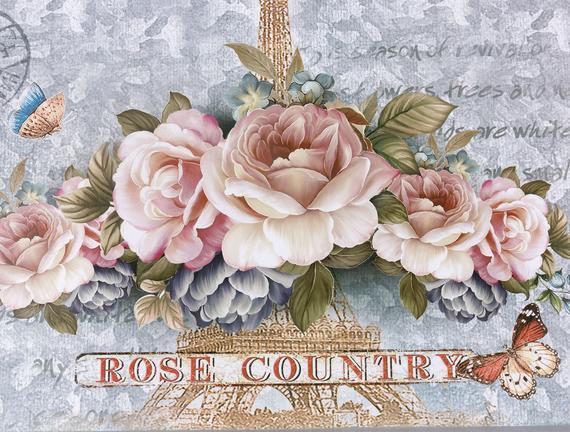Rose Country Tepsi - Mavi - 35,2x25,2 cm