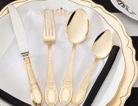Le Papillon 42 Parça Çatal Kaşık Bıçak Seti Gold - Deri Sandıklı