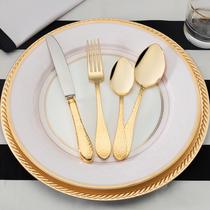 La Rosée 42 Parça Çatal Kaşık Bıçak Seti Gold-Deri Sandıklı