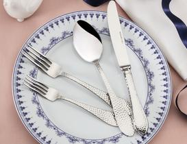 La Rosée 42 Parça Çatal Kaşık Bıçak Seti Silver - Deri Sandıklı