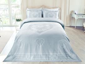 Cordibus Çift Kişilik Pamuk Pano Yatak Örtüsü - Mint Yeşili