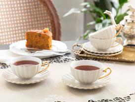 Shelley 4'lü Çay Fincanı Seti - Gri