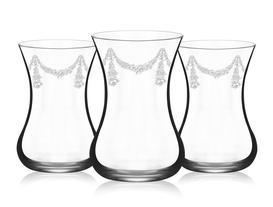 6 Lı Çay Bardağı Sıralı Gül Desenli 190 Ml
