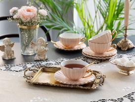 Shelley 4'lü Çay Fincanı Seti - Pembe