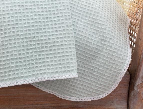 Dantelli Tek Kişilik Pike - Mint / Beyaz