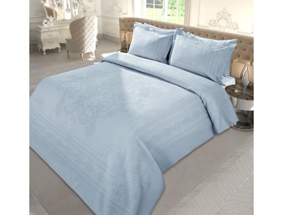 Le Roi Soleil Çift Kişilik Örme Yatak Örtüsü - Açık Mavi