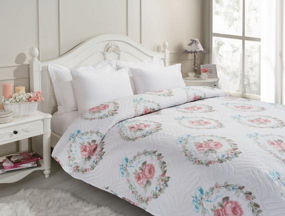 Rose Çift Kişilik Çok Amaçlı Yatak Örtüsü - Pudra / Mint