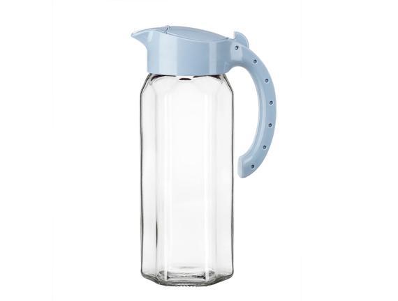 Happy Plastik Kapaklı Cam Sürahi - Mavi / 1500 ml