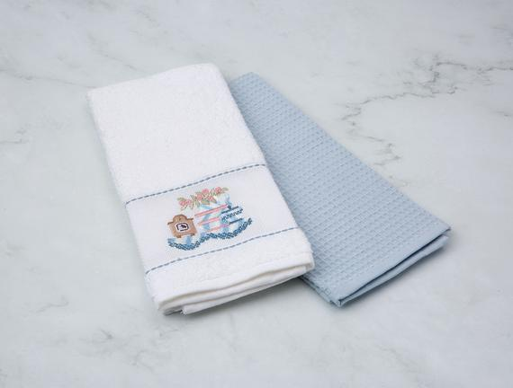 2'li Nakışlı Mutfak Havlusu - Beyaz / Mavi