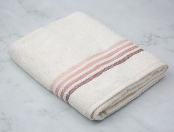 Ruban Armürlü Büyük Banyo Havlusu - Ekru / Pudra