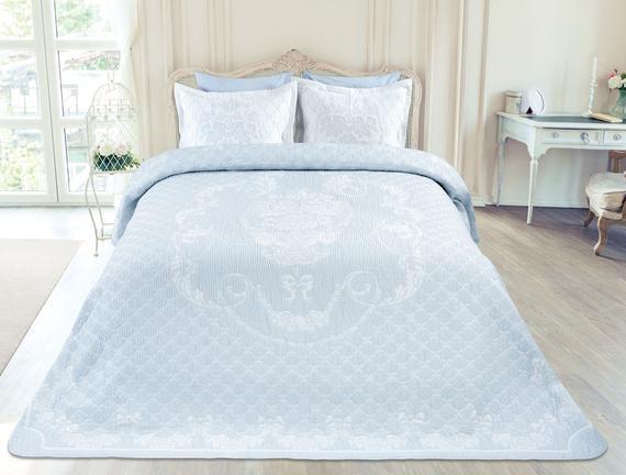 Cottage Tek Kişilik Yatak Örtüsü - Açık Mavi