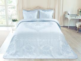 Les Roses Tek Kişilik Yatak Örtüsü - Açık Mavi