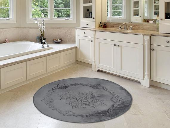 Flanel Desenli Yuvarlak Banyo Paspası - Antrasit