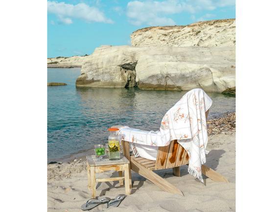 Fabrice Baskılı Plaj Havlusu - Beyaz / Bej - 70x160 cm