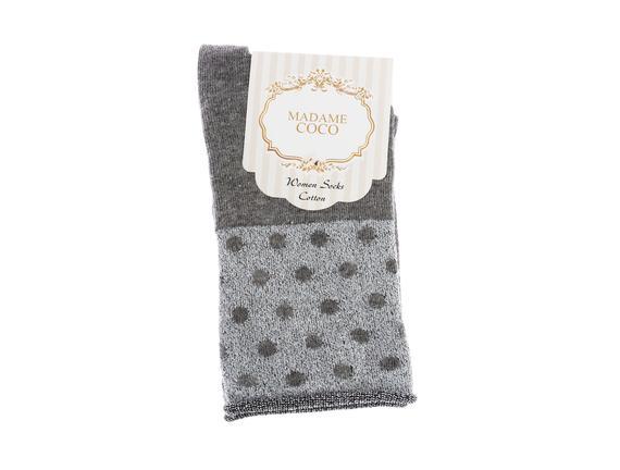 Simli Puantiyeli Bileği Lastiksiz Çorap - Gri / Silver