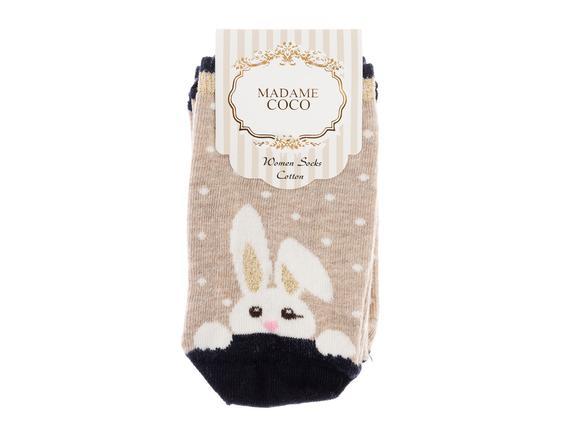 Bayan Tavşan Desen Çorap - Taş / Gold