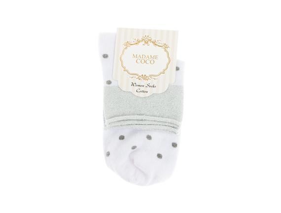 Simli Patik Çorap - Beyaz / Silver