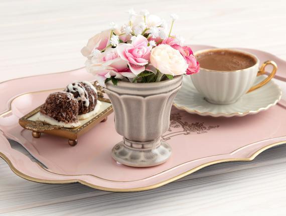 Cup Seramik Mini Saksı - Taş