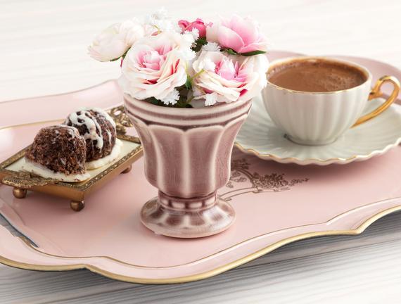 Cup Seramik Mini Saksı - Açık Kahve