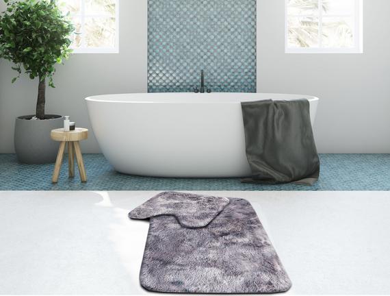 Peluş Banyo Paspas Takımı - Gri