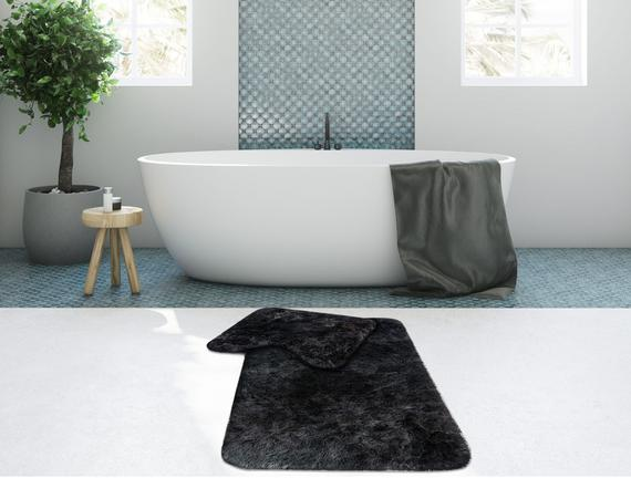Peluş Banyo Paspas Takımı - Antrasit